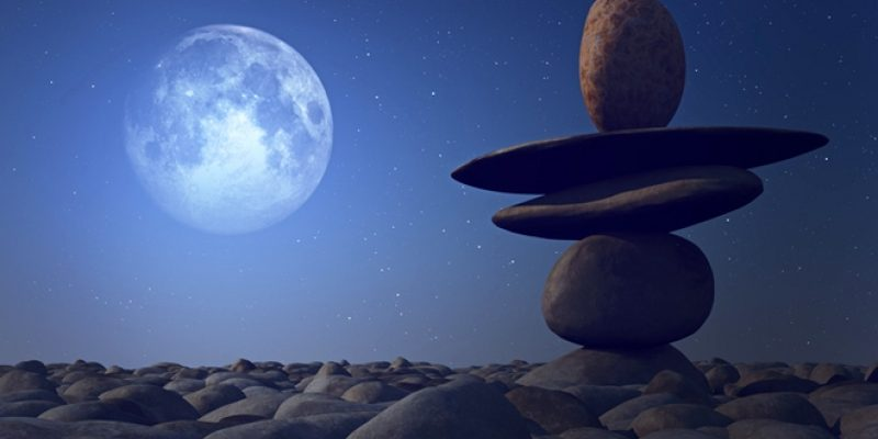 Balancing stones in the moonlight