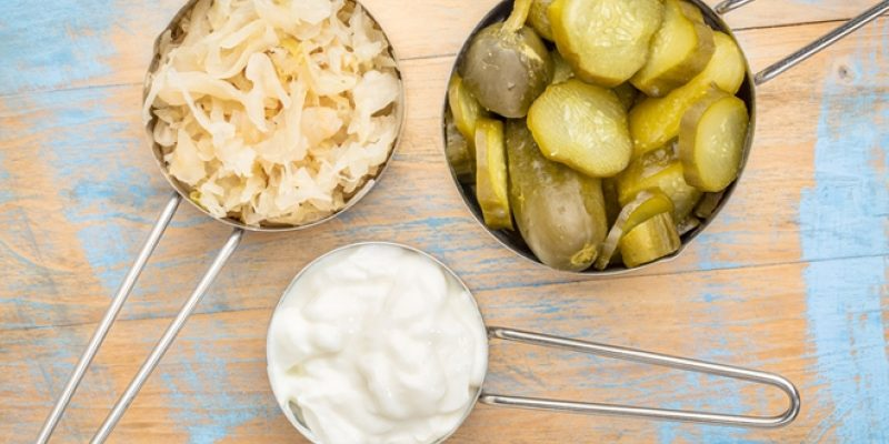 Probiotic foods on wood surface