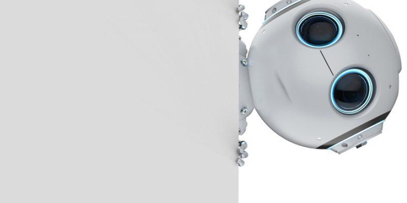 Cute robot peeks around corner