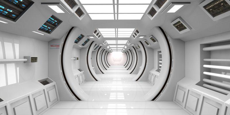 Futuristic corridor SCIFI - stock photo