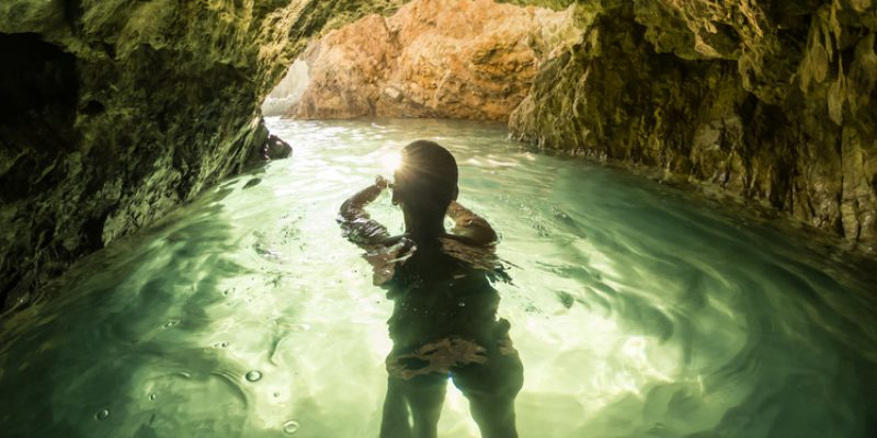 Swimming in a cave