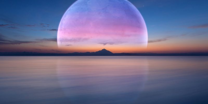 Graphic of moon over water