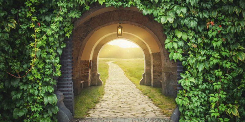 Doorway to bright pasture
