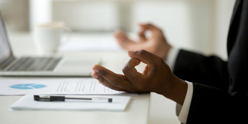 hand mudra at desk