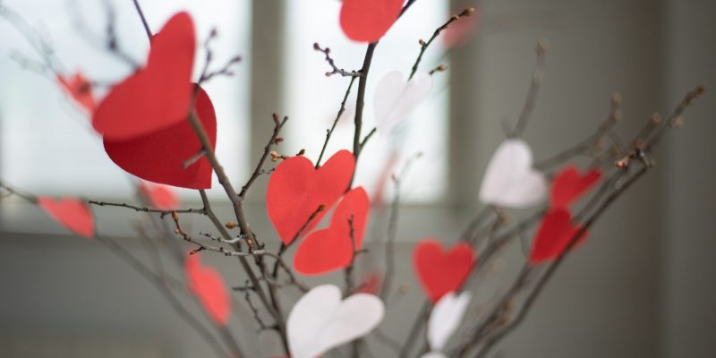 Heart-centered spirituality represented by branches with paper hearts.