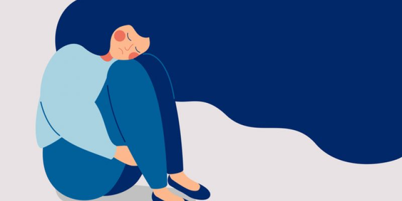 Illustration of lonely woman holding knees to chest