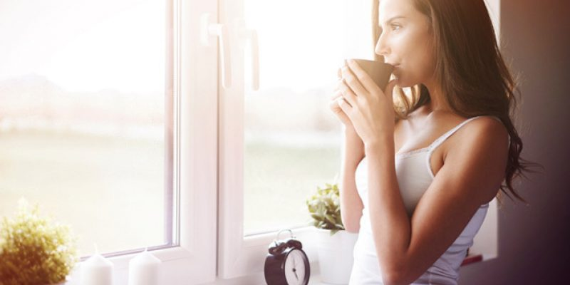 Woman morning cup of coffee