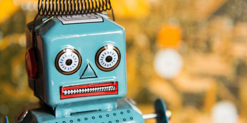 closeup of tin robot