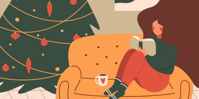 illustration of Woman sitting on couch reading book next to Christmas tree
