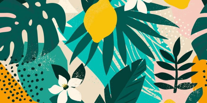 Collage contemporary floral pattern. Modern exotic jungle fruits and plants illustration.