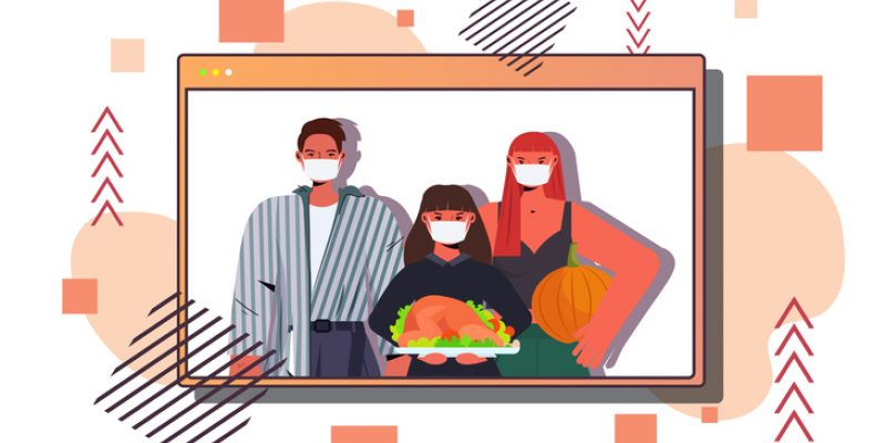 Illustration of family with masks holding a turkey in a virtual zoom video window
