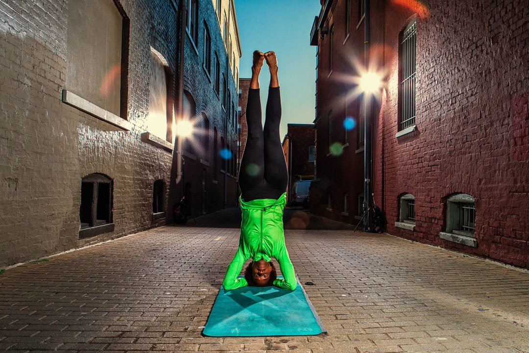 Bianca Alexander in headstand yoga pose
