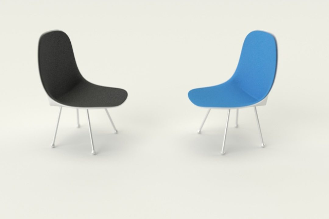 Black and blue chairs in white room