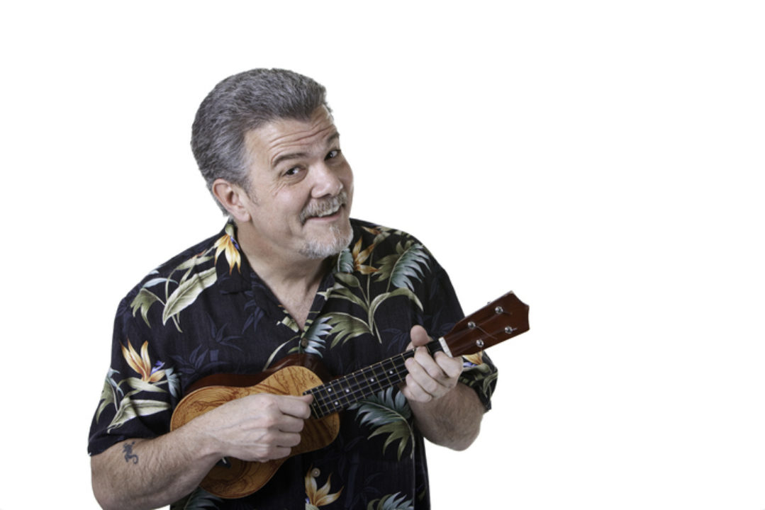 man wearing an aloha shirt
