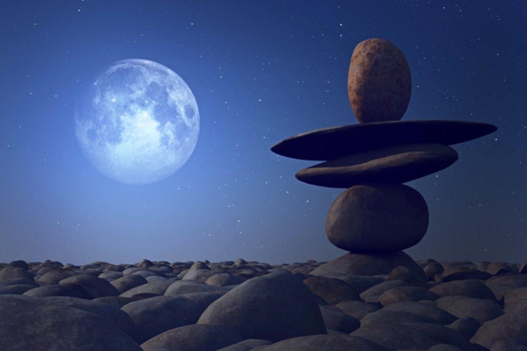 Balancing stones in the moonlight