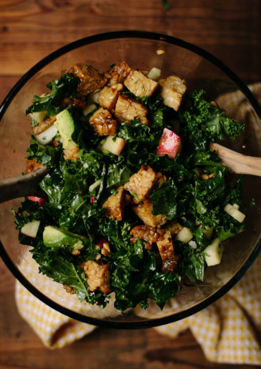 Kale Salad with Apples, Avocado, and Grilled Maple Tempeh: Good Food, Spirituality & Health