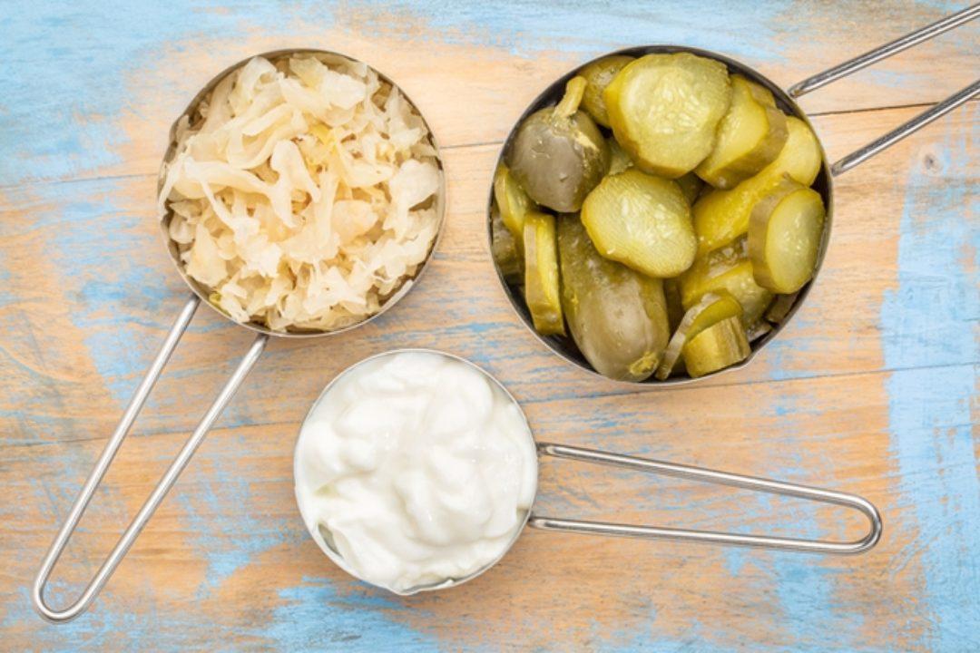Probiotic foods on wood surface