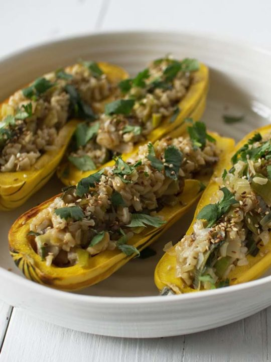Rice, Mushroom & Leek Stuffed Delicata Squash: Good Food, Spirituality & Health