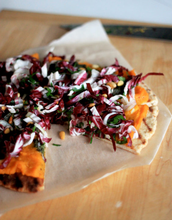 Grilled Butternut Flatbread with Pesto and Radicchio Slaw: Good Food, Spirituality & Health
