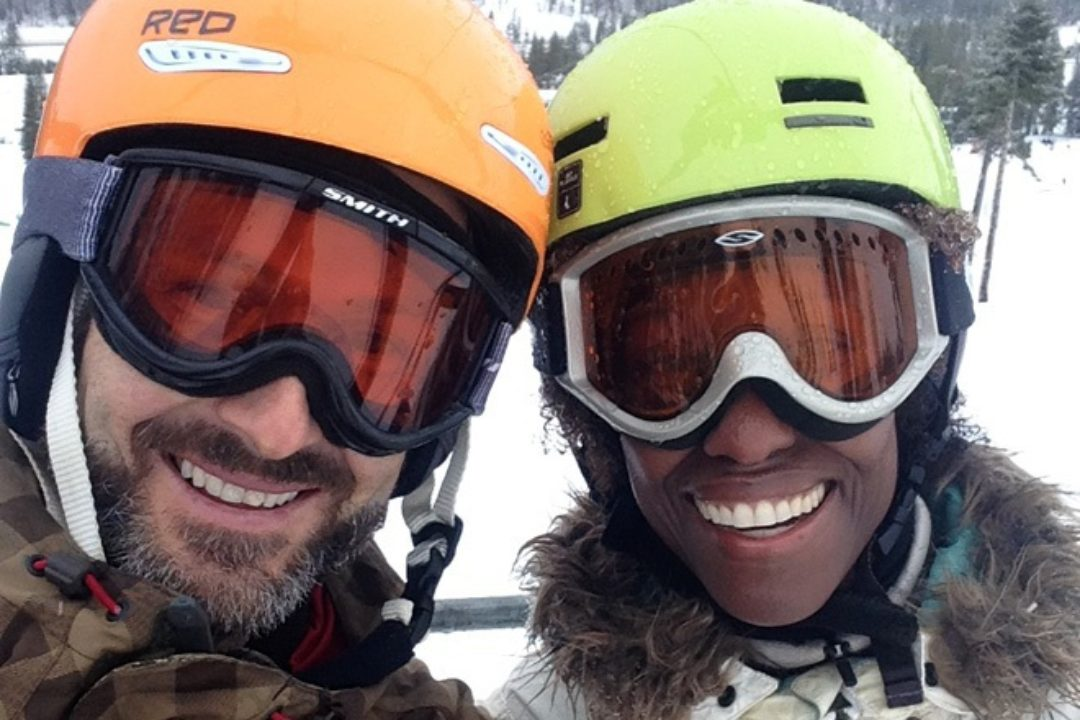 Image of Michael and Bianca on chair lift