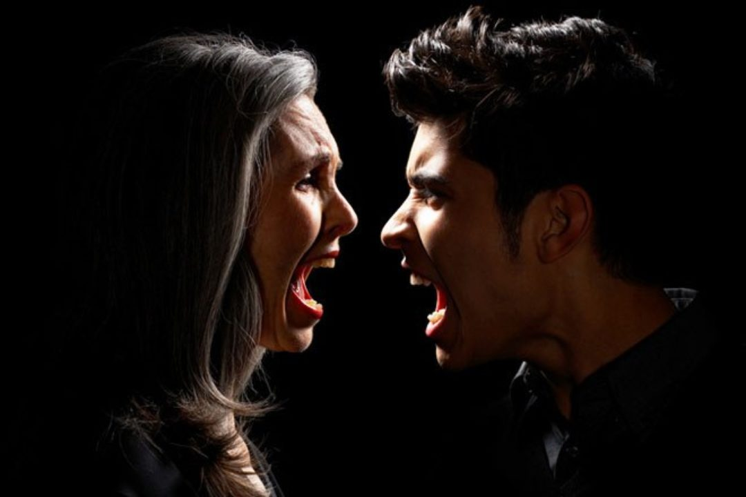 woman and son yelling