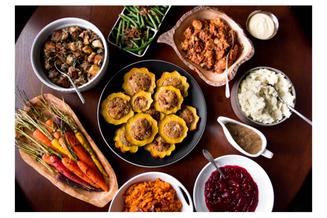 Variety of vegan Thanksgiving dishes