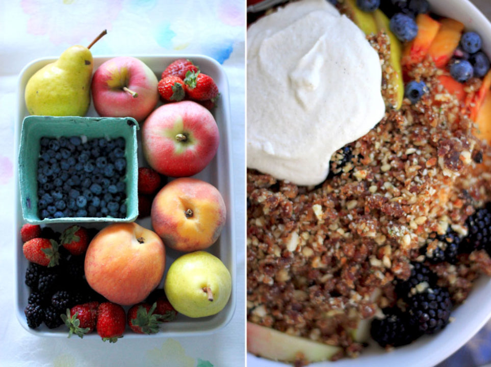 Raw Fruit Crumble with Almond Cream: Good Food, Spirituality & Health