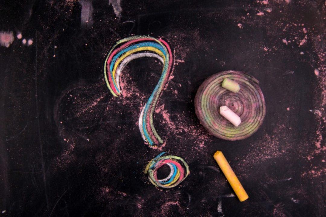 Question mark drawn in chalk