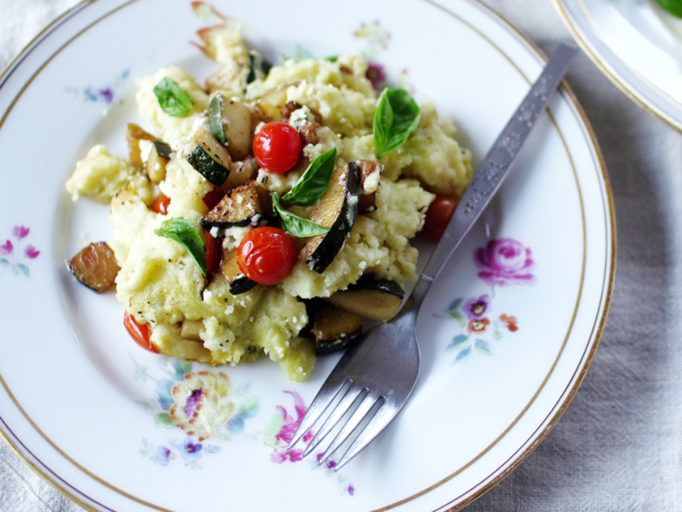 Tomato & Zucchini Polenta Bake: Spirituality & Health, Good Food