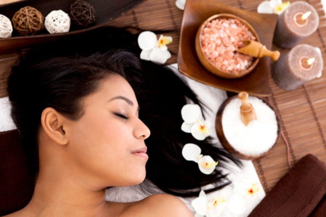 Woman resting at spa