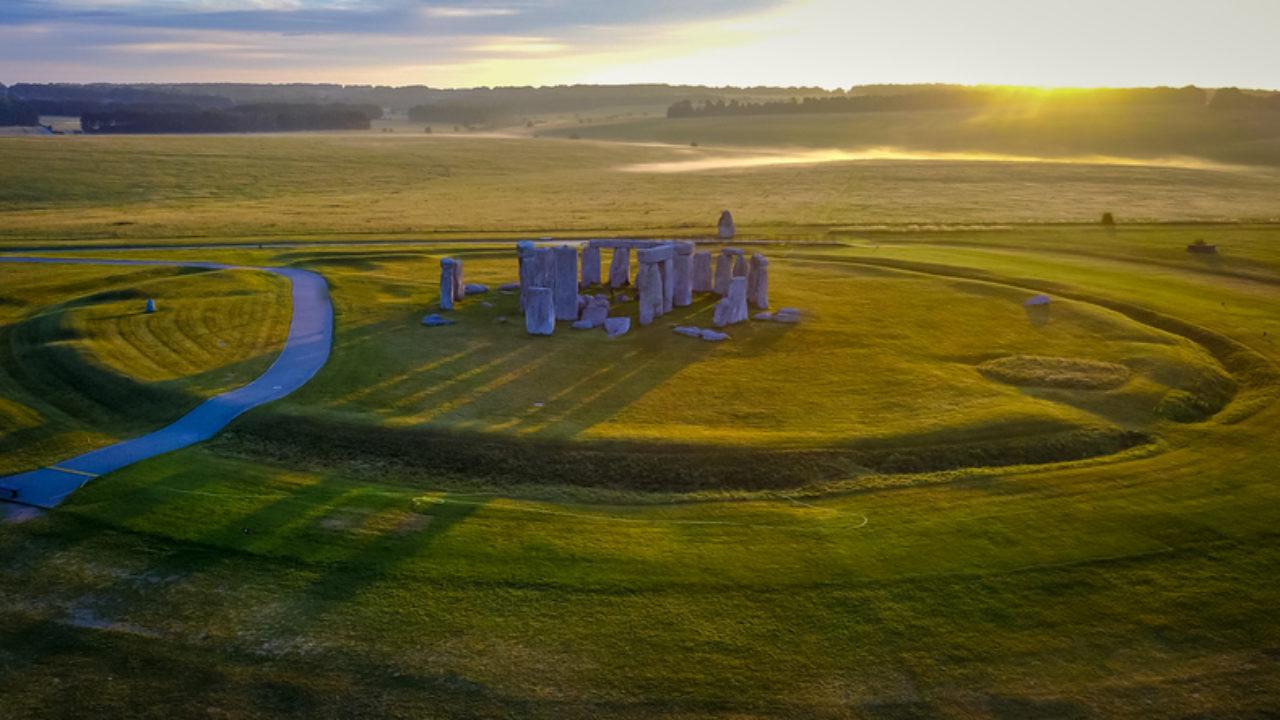 An overhead image of Stonehenge