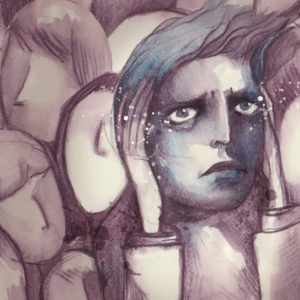 An illustration of a man overcome with anxiety