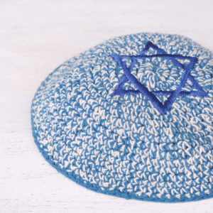A blue and white kippah