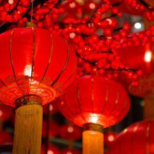 Bright image of red Chinese lanterns