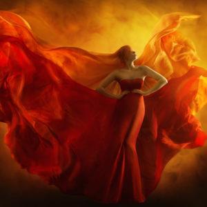 Woman in fantasy fire dress