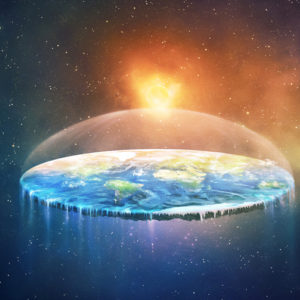 a concept of a flat earth in space