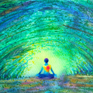 Human form surrounded by healing green light.