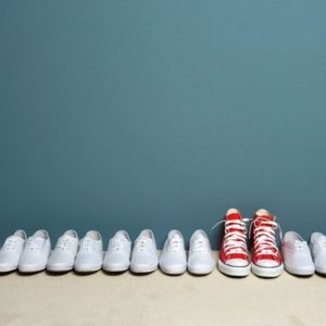 red shoes stand out