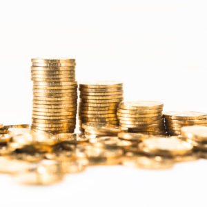 Gold coins in a pile