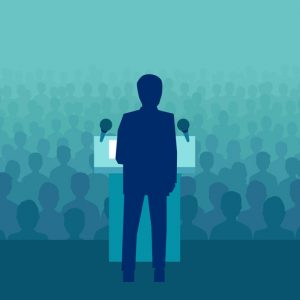 Illustrated person standing at podium giving speech to crowd