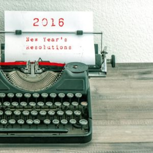 Typewriter with New Years Resolutions on white page