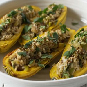 Rice, Mushroom & Leek Stuffed Delicata Squash: Good Food, Spirituality & Health
