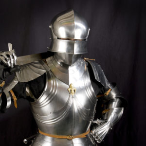 Armor of the medieval knight. Metal protection of the soldier against the weapon of the opponent.