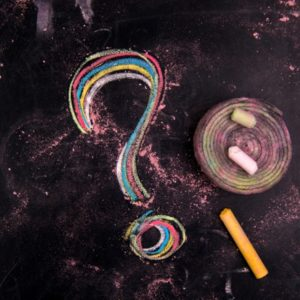 Question mark drawn in chalk