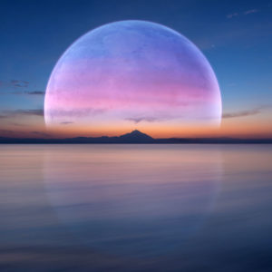A colorful moon