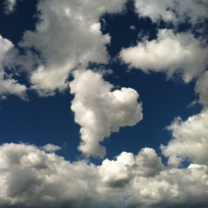 getting cold feet in a relationship: cloud heart in the sky