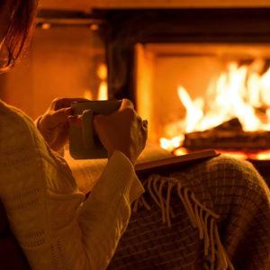 cozy fireplace