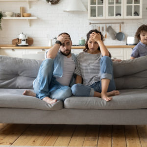 family is cramped in living room