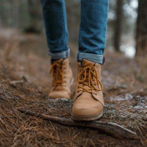 feet walking in woods