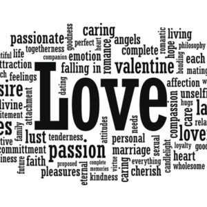 word cloud with LOVE in the center